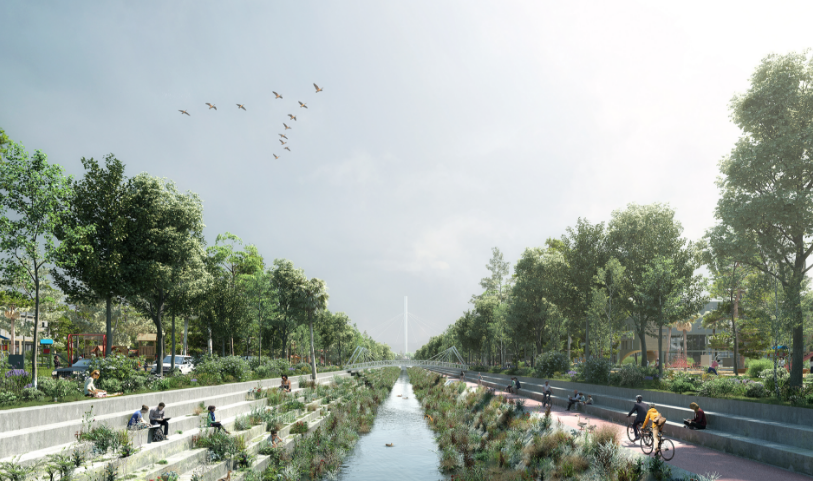 Streets and creeks are transformed into a resilient network of waterways and creek-side parks a resilient network of waterways and creek-side parks