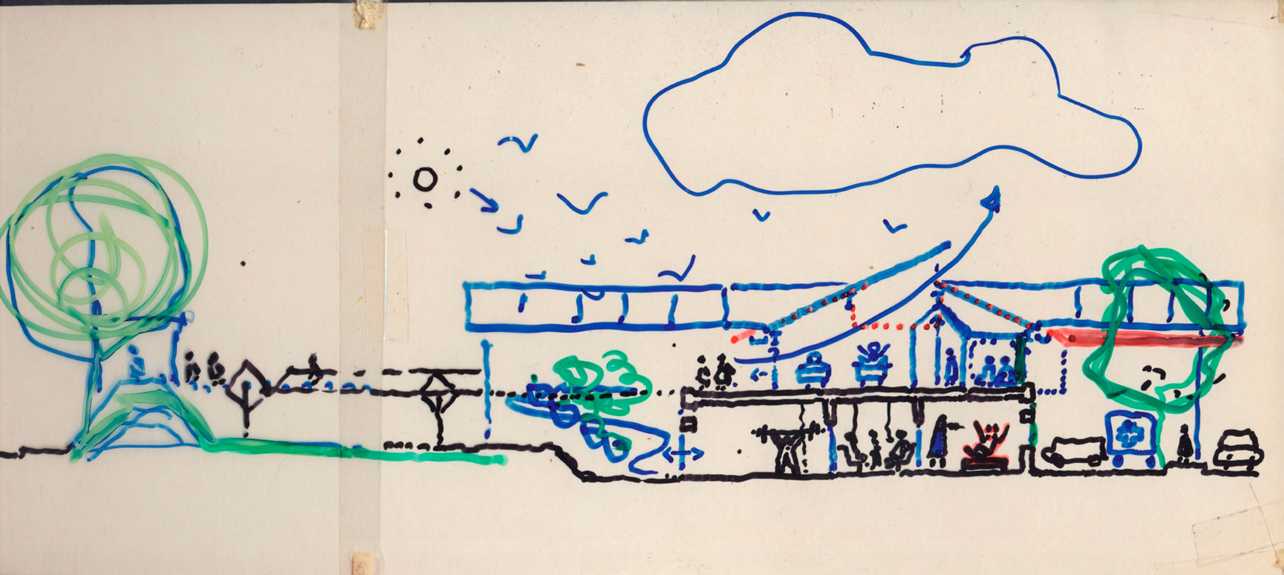 Lambeth Community Care Centre section sketch by Ted Cullinan