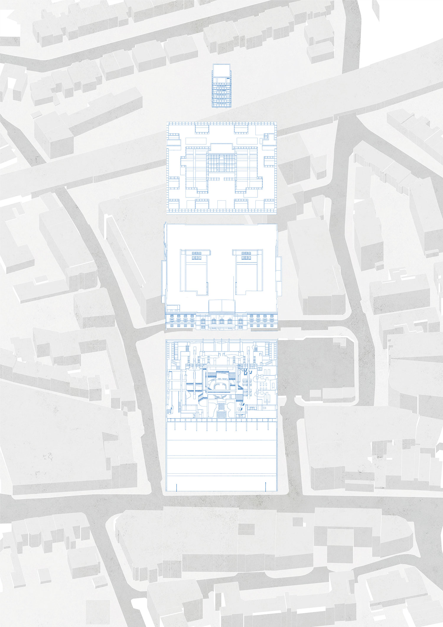 Exploded oblique drawing showing proposal components: basement intervention, existing Town Hall, proposed roofscape, tower