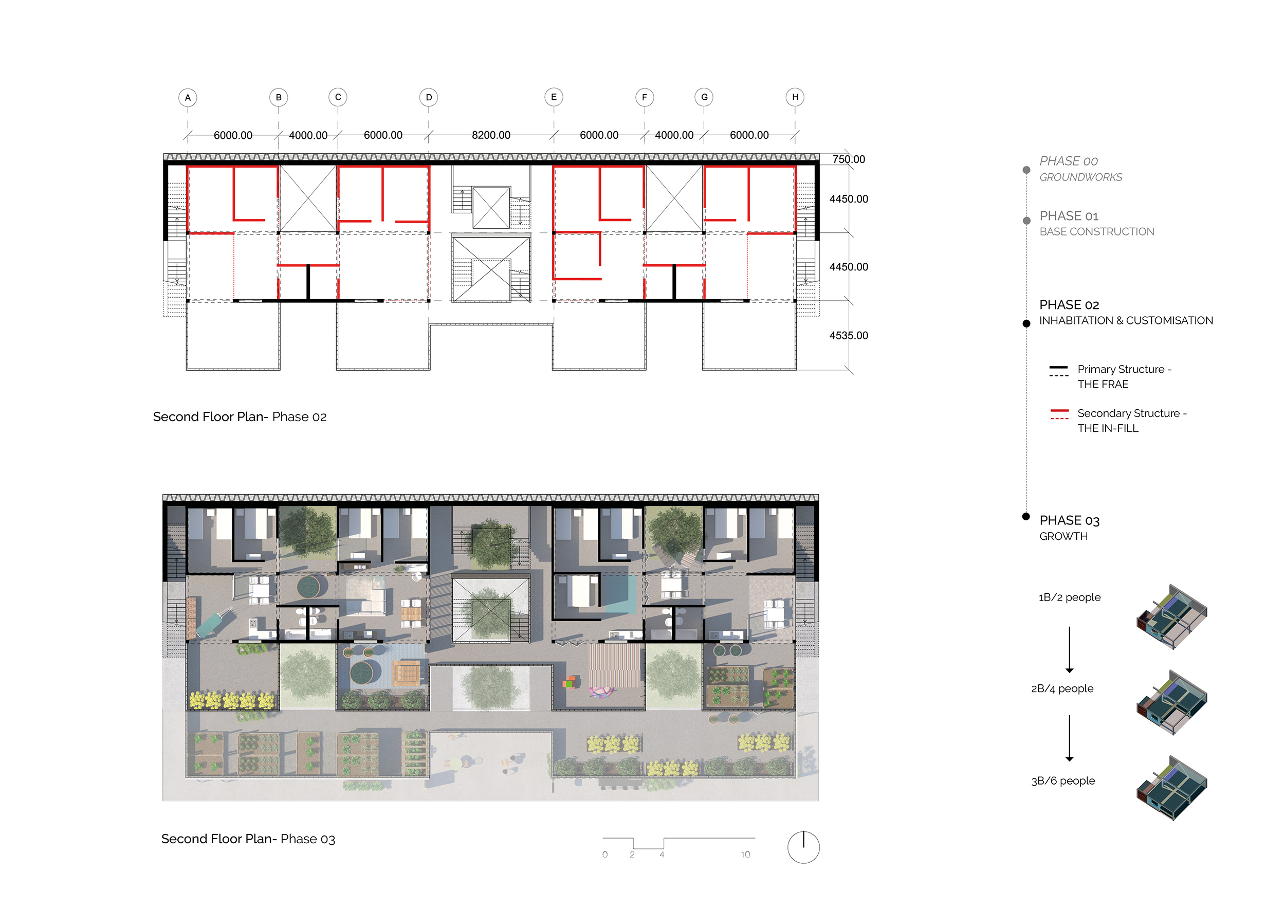 Second floor plan: phases 01, 02 & 03