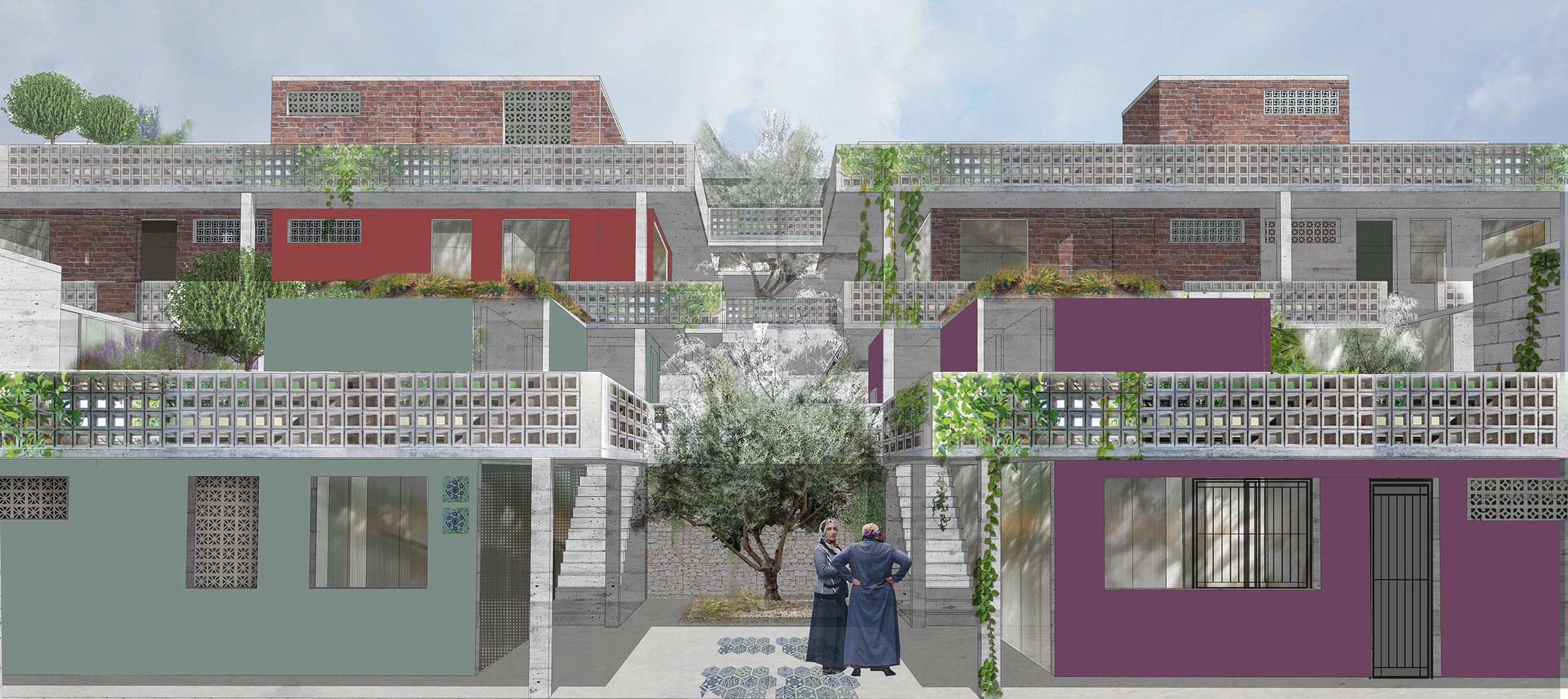 The shared network of balconies and terraces of the growing housing unit