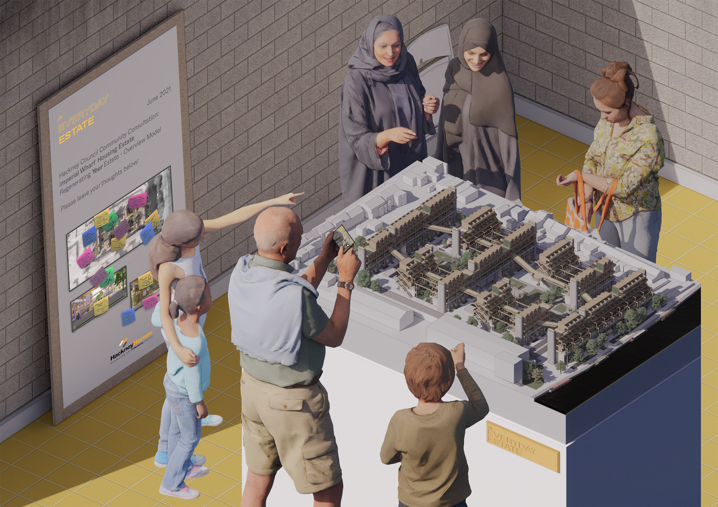 Imagined community consultation for Imperial Wharf residents.