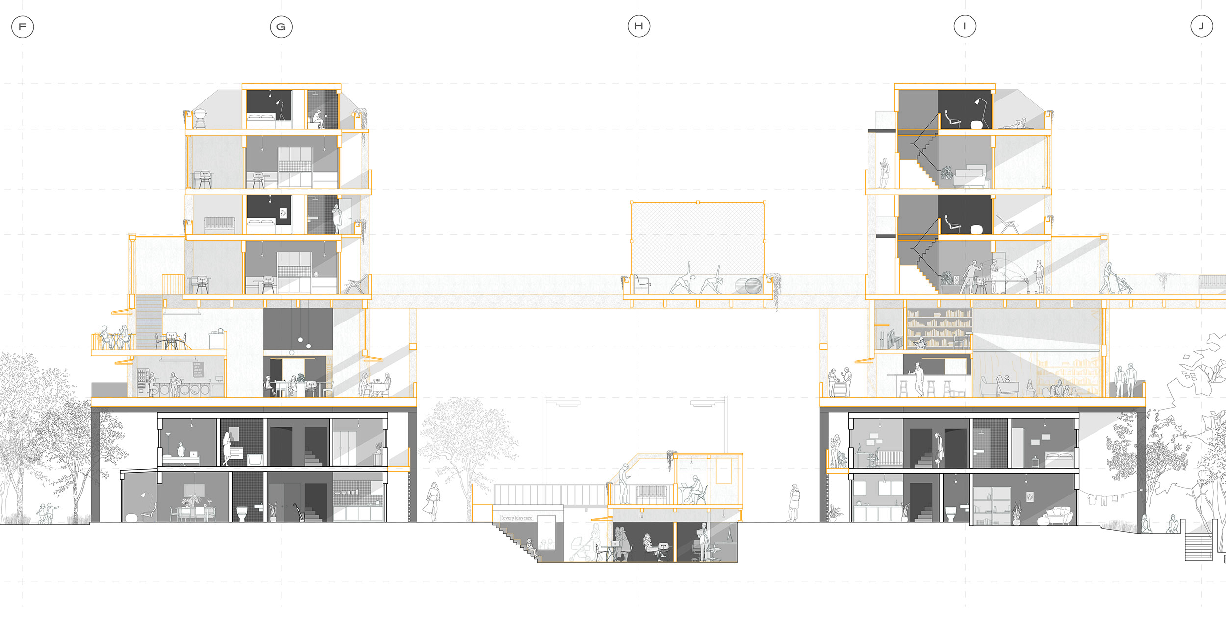 Vertical estate densification section drawing