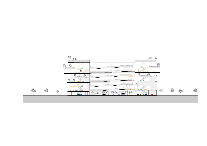 Section A-A – cut through atrium/ramp