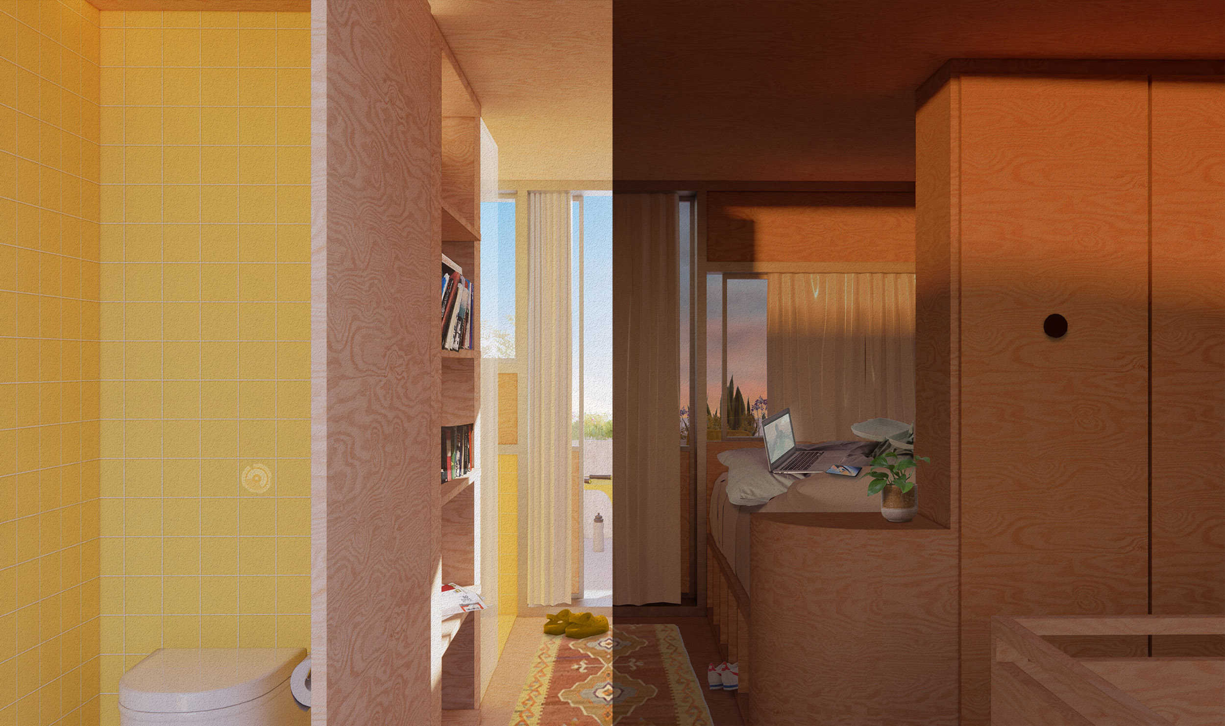 A remote-worker's bedroom (day/night visualisation)