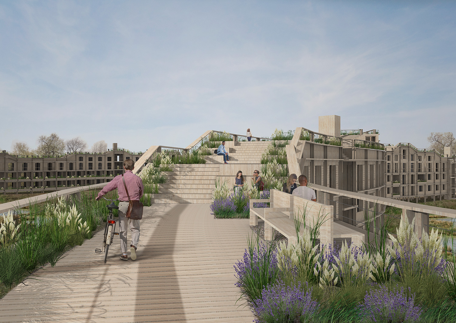 Walkway features planters, providing a ribbon of ecology that furthers the symbiotic nature of the project