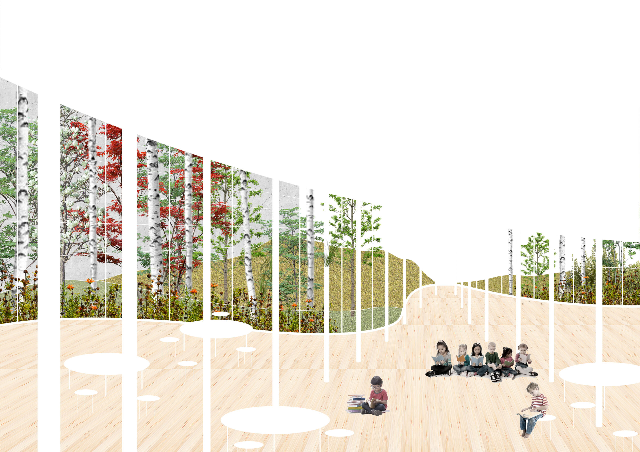 Reimagined journey through the forest of beams upon the school entry [ DOES THIS MEAN 'AT SCHOOL ENTRANCE'?
