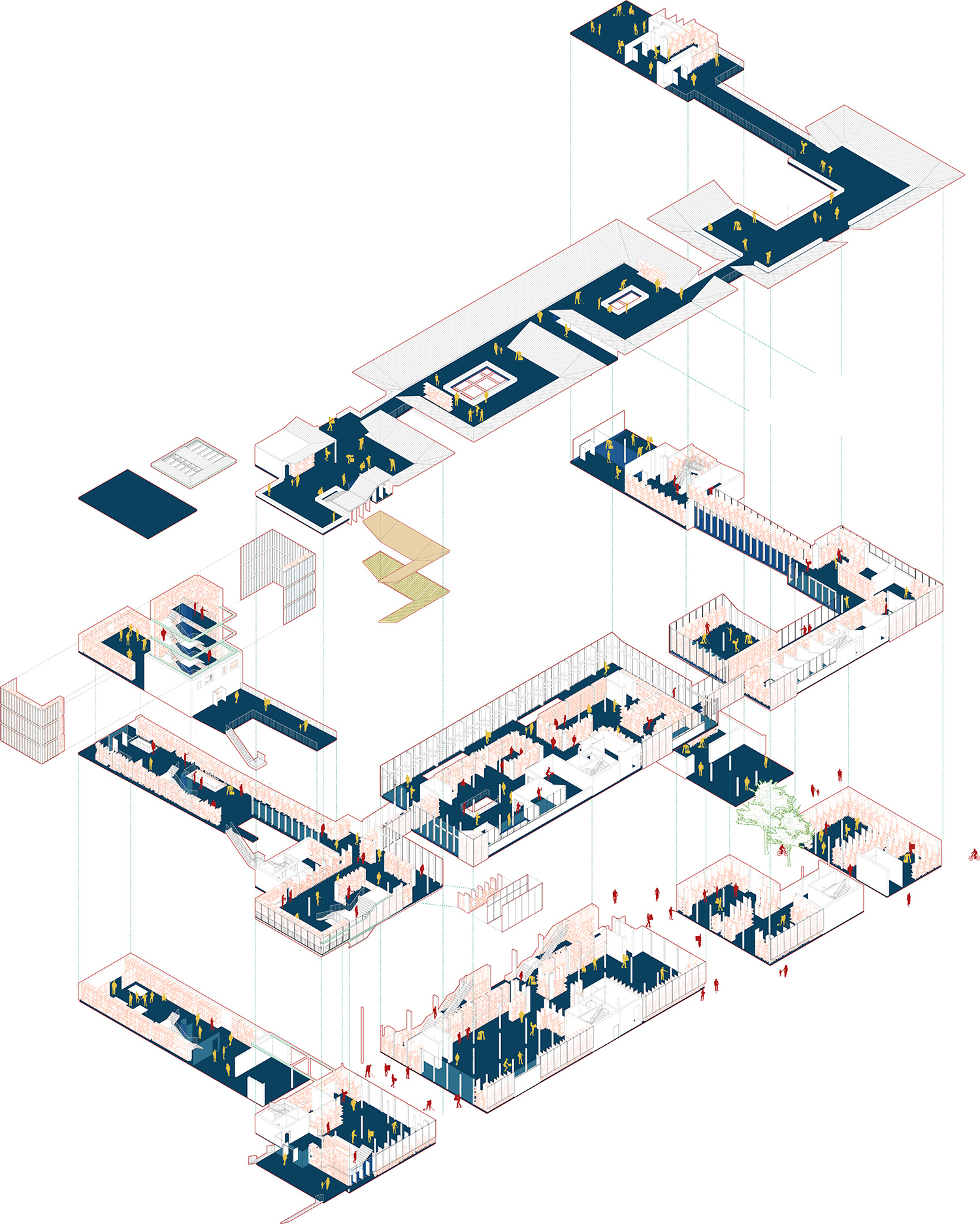 Dalston share and repair centre exploded axonometric