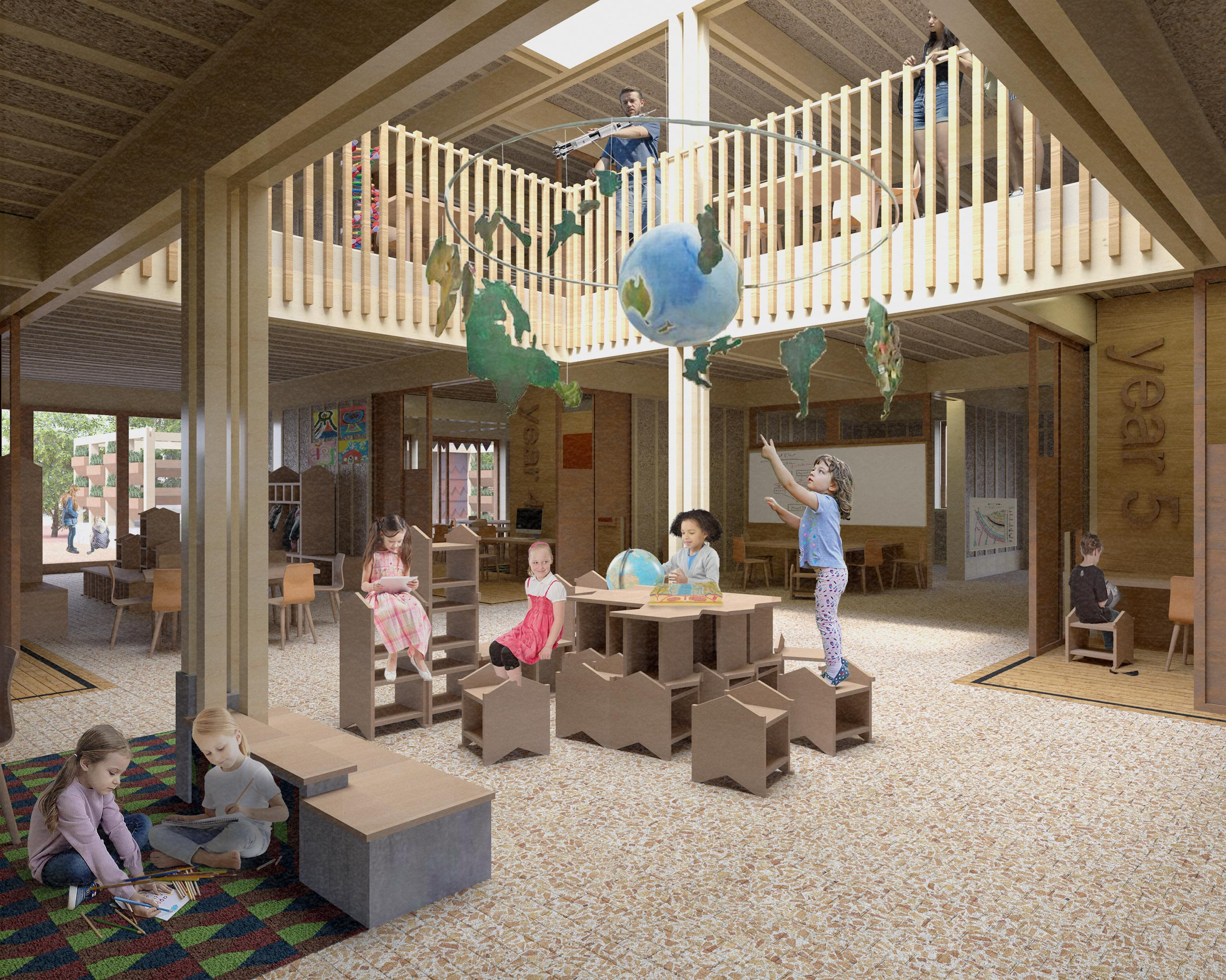 Shared, flexible learning spaces, interaction between primary and secondary students