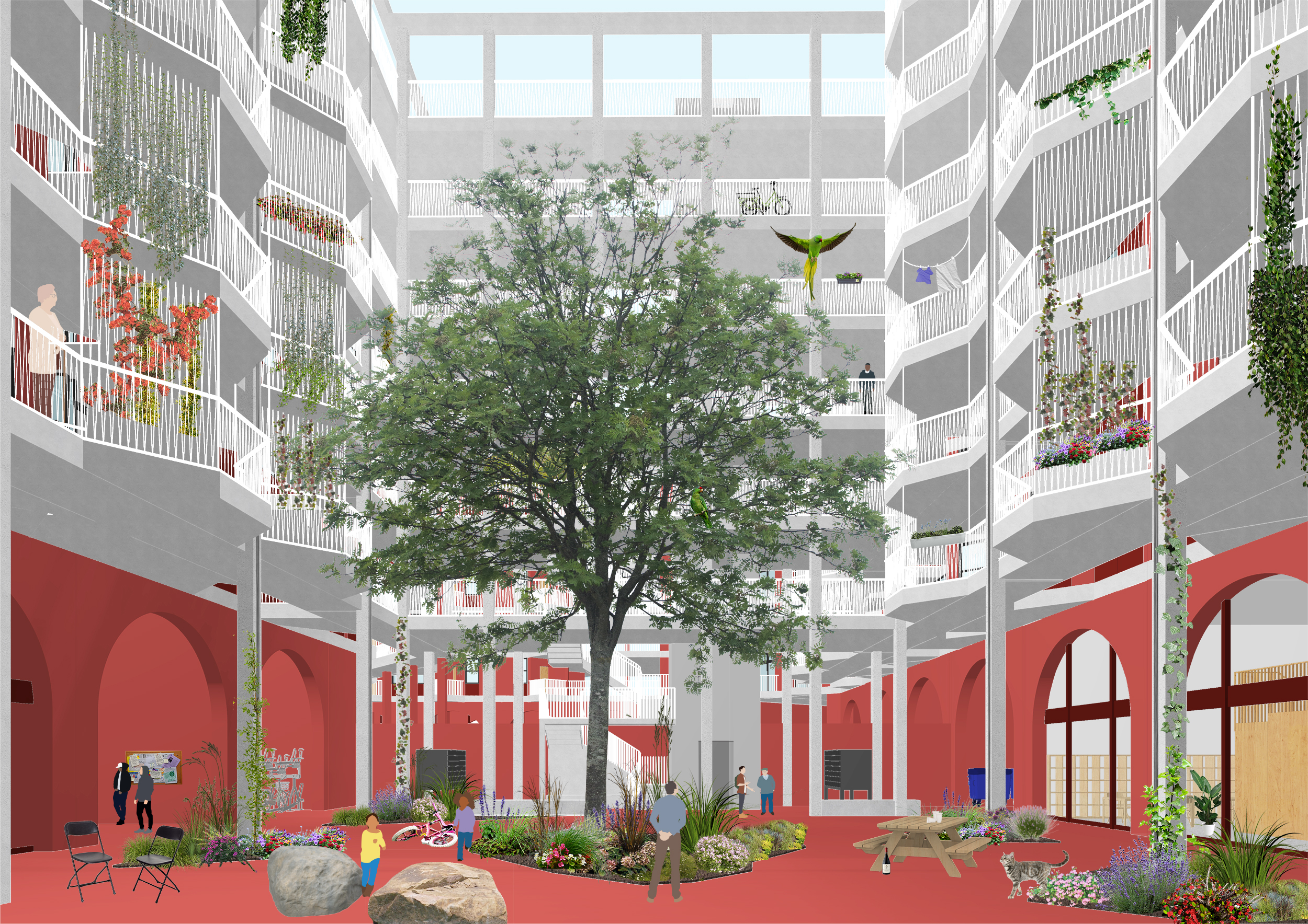 Residential courtyards encourage connection