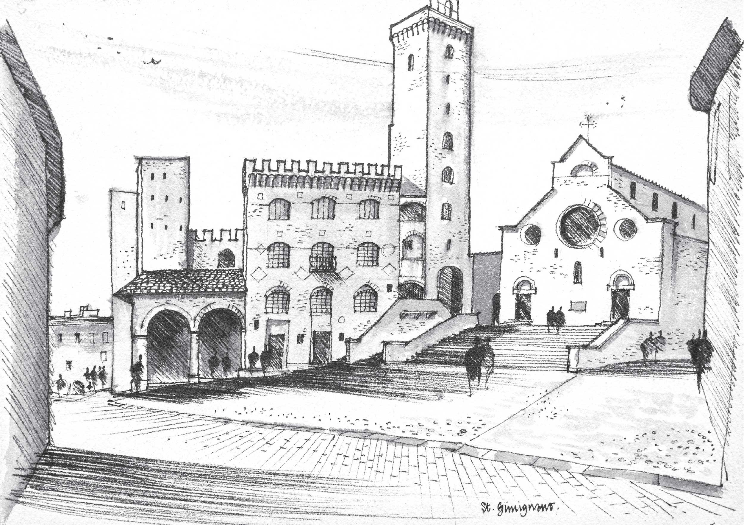 Sketch of Piazza del Duomo in San Gimignano, Italy