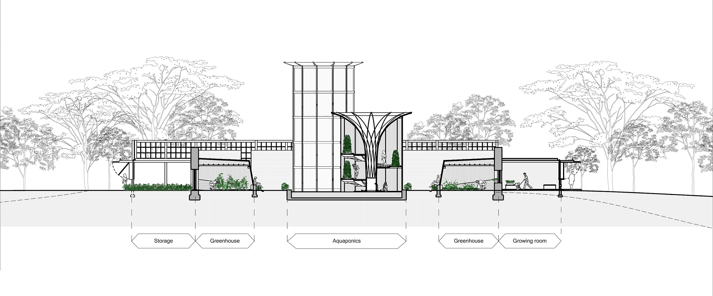Cross-section through educational facilities. Aquaponics and greenhouse growing facilities, located internally to the walled garden [DOES THIS MEAN: facilities in the walled garden, ?JD] are surrounded by supporting facilities