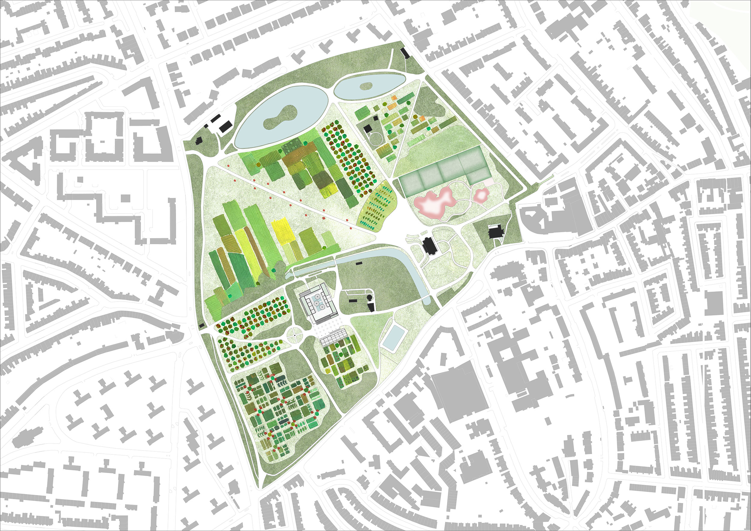 Masterplan strategy of Clissold Park – a new model of food production, integrated in local ecologies and rooted in local communities