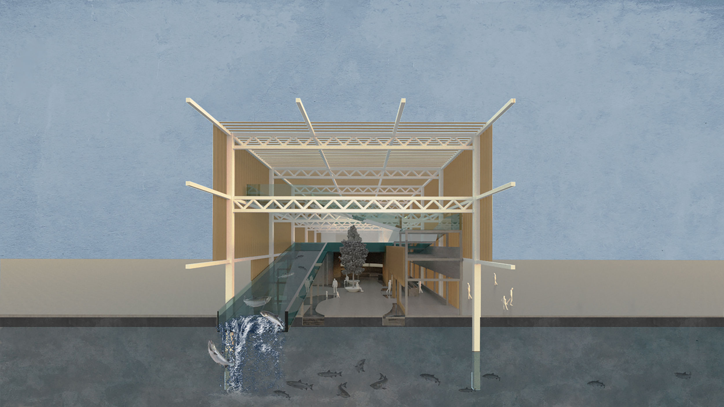 Station 00 section: fish ladder atrium
