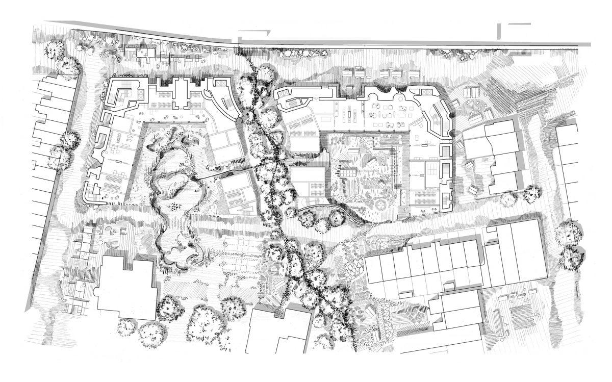 Ground floor landscape plan — an urban landscape centred around unique garden typologies.