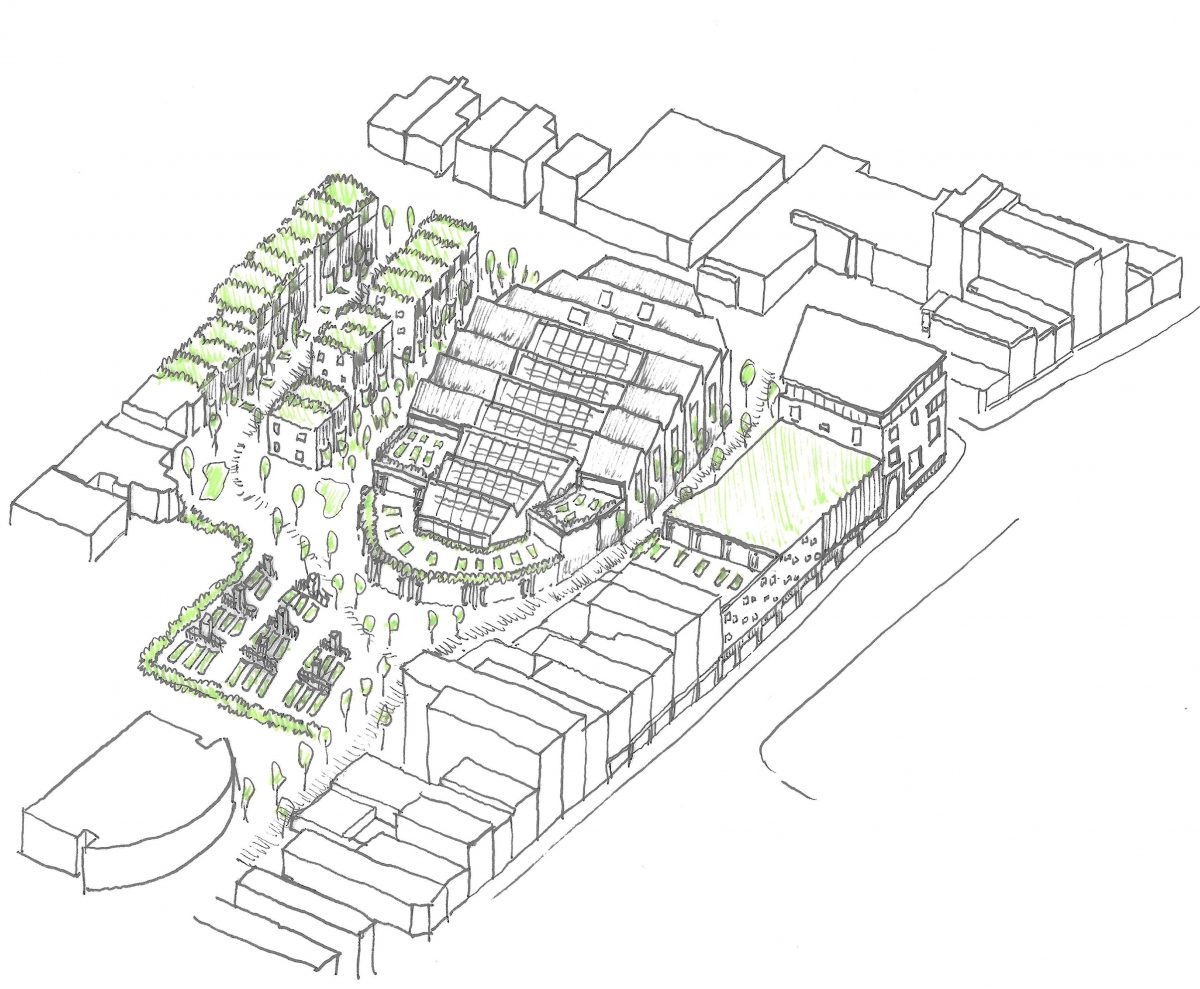 The project will create a new collection of buildings including a school, community building and housing, linked by a series of interwoven landscapes, that will serve a wide sector of society with a food- and agricultura-based programme. The school will sit as the centrepiece of the sensitively designed masterplan, as a pristine and crystalline object in a hazy and varied landscape. The buildings will be linked by a variating garden wall.