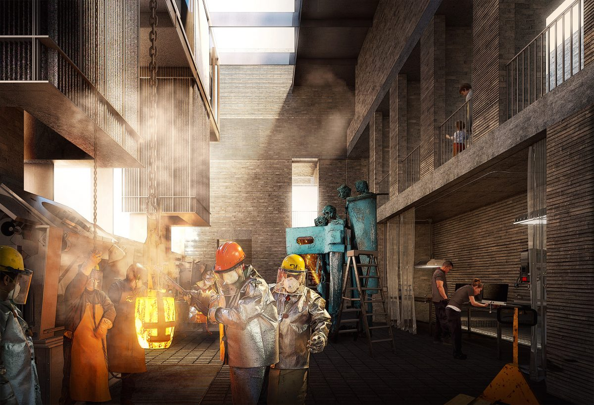 The proposed structural approach will contribute to the foundry's design life. Both the industrial and gallery spaces are designed and finished in the same manner to allow for maximum flexibility and adaptability over time.