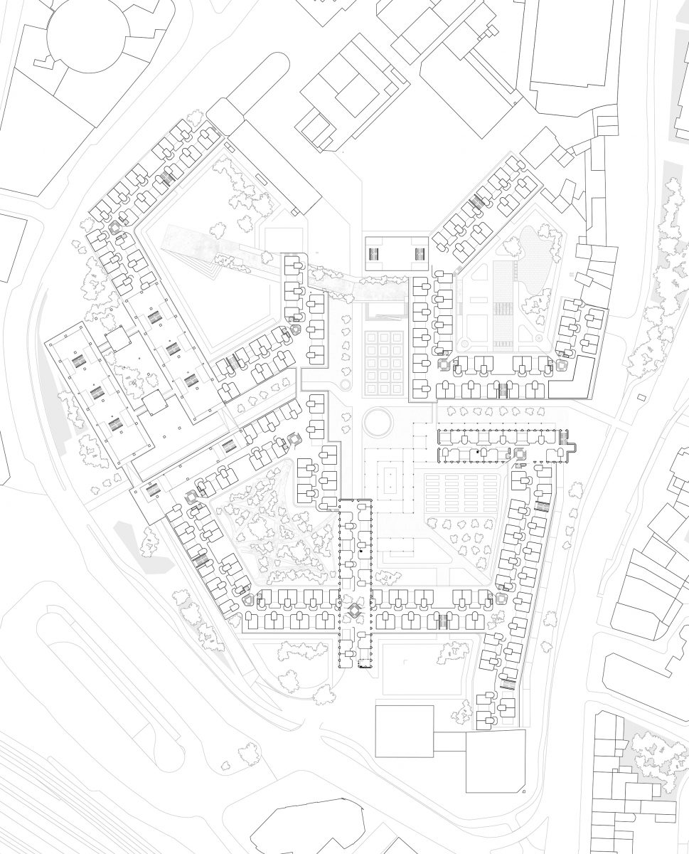 Whilst the existing structure starts to divide the site into quadrants, the relationships of the quadrants, to one another and their adjoining spaces becomes prevalent. By overlapping the functions of spaces, the chance of a neighbourly encounter is greatly increased.