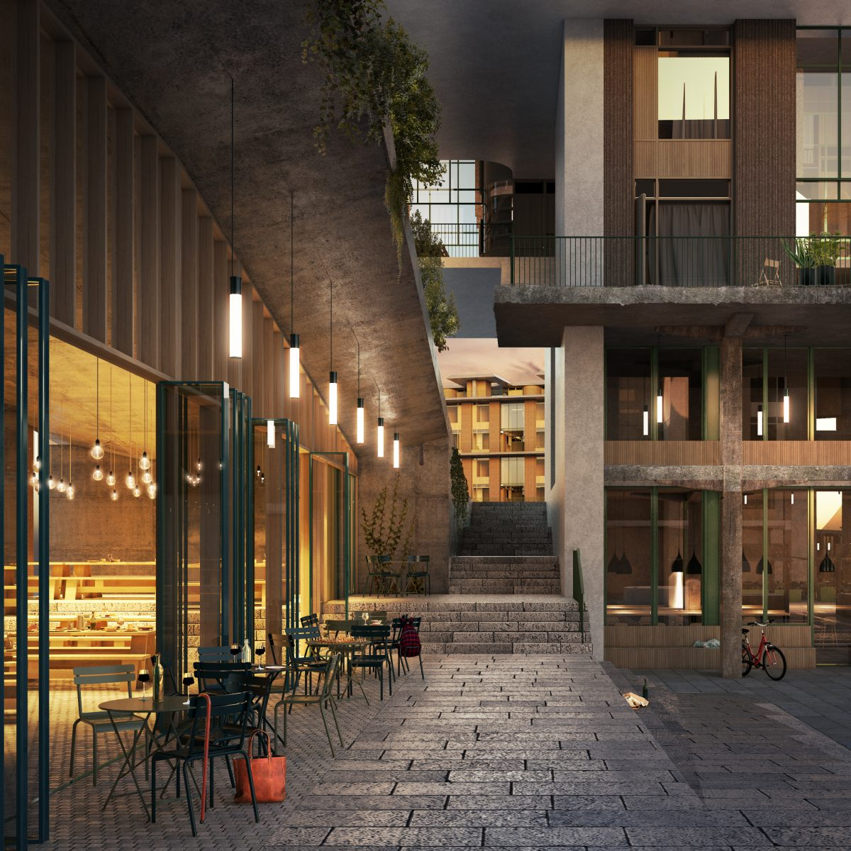 Access into the residents quadrants is through varying underpasses, creating an understanding of where a visitor can and can't visit. South facing steps encourage people to sit late into the evening, creating a vibrant atmosphere.