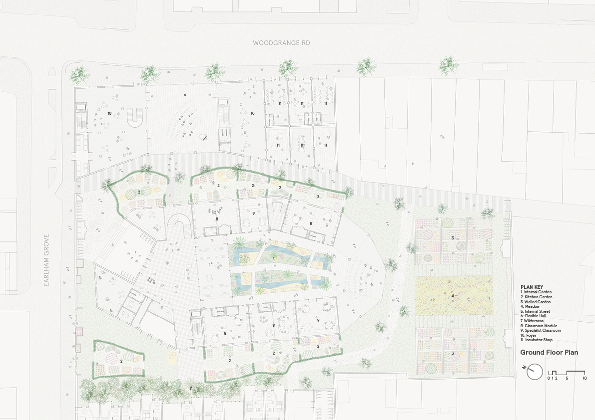 A holistic masterplan for the site set in a rich landscape. A school building with direct links to landscape in the form of external teaching spaces adjacent to classrooms, with a verdant indoor garden at its centre.