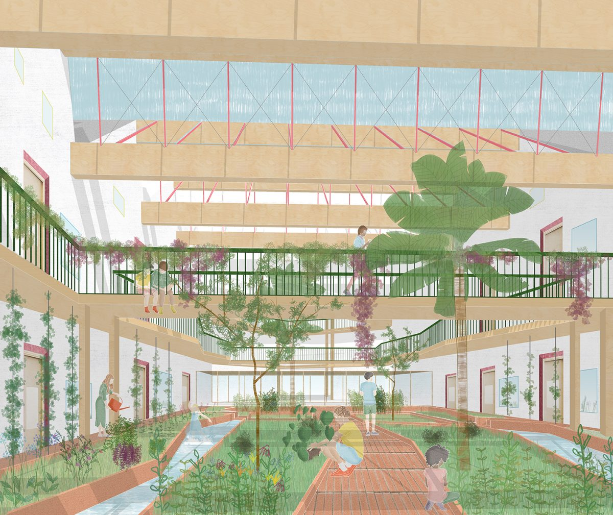 The internal garden is a verdant, Eden-like space at the heart of the school - a public square within the building with façades that make a town square.