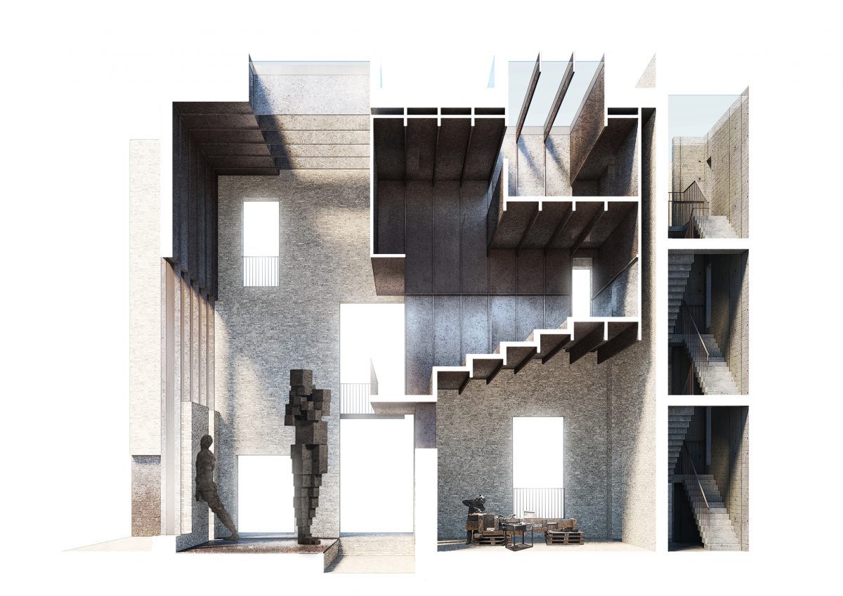 There are moving elements to compartmentalise spaces for multiple uses and occupants, prolonging the lifespan of the new building to allow it to age alongside the already historically significant Old Foundry.