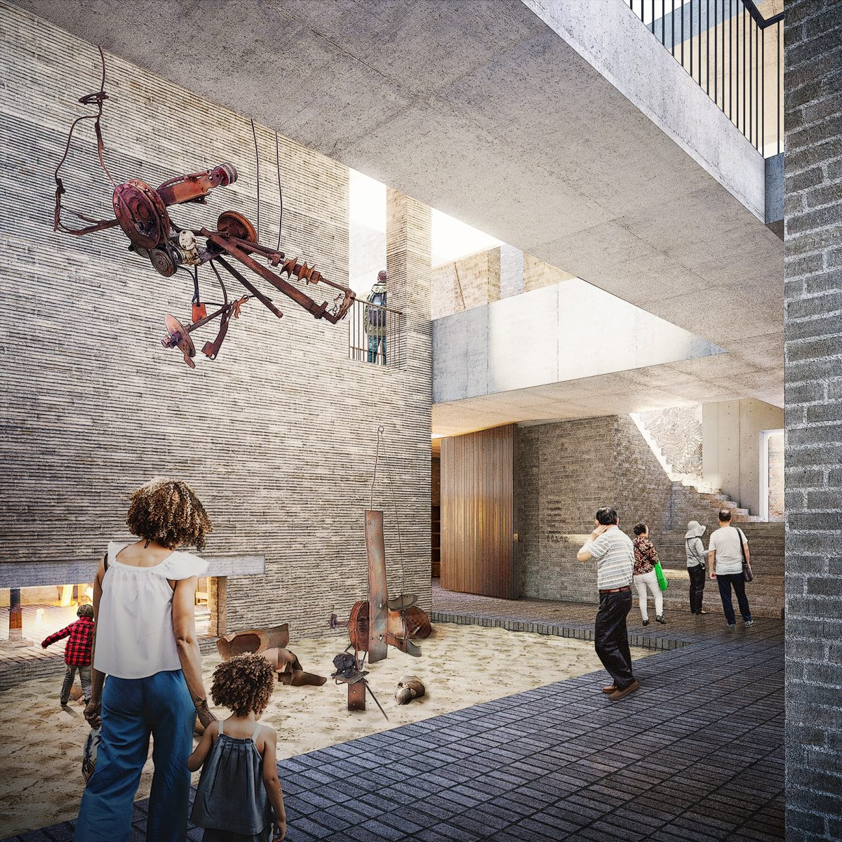 There is a large lightwell to the centre of the new extension to allow light into the building. As the site is confined by multiple party walls, the internal courtyard floods the area with light and presents itself as a flexible function space.