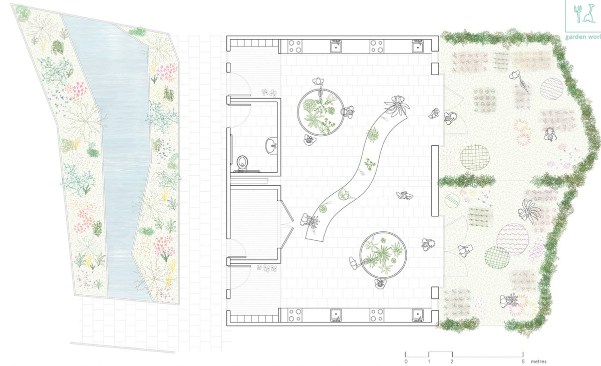The classroom modules on the ground floor have a unique and direct connection to the external kitchen gardens and to the internal garden.