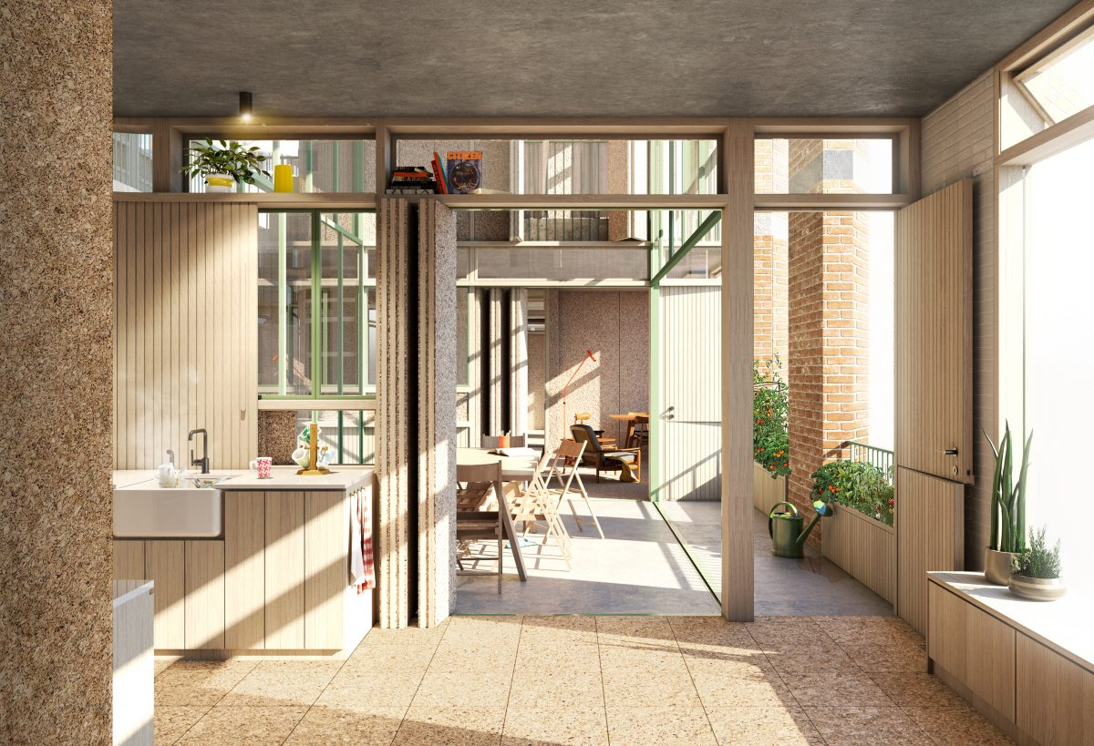 Inside a resident's home, looking through to a shared garden beyond.