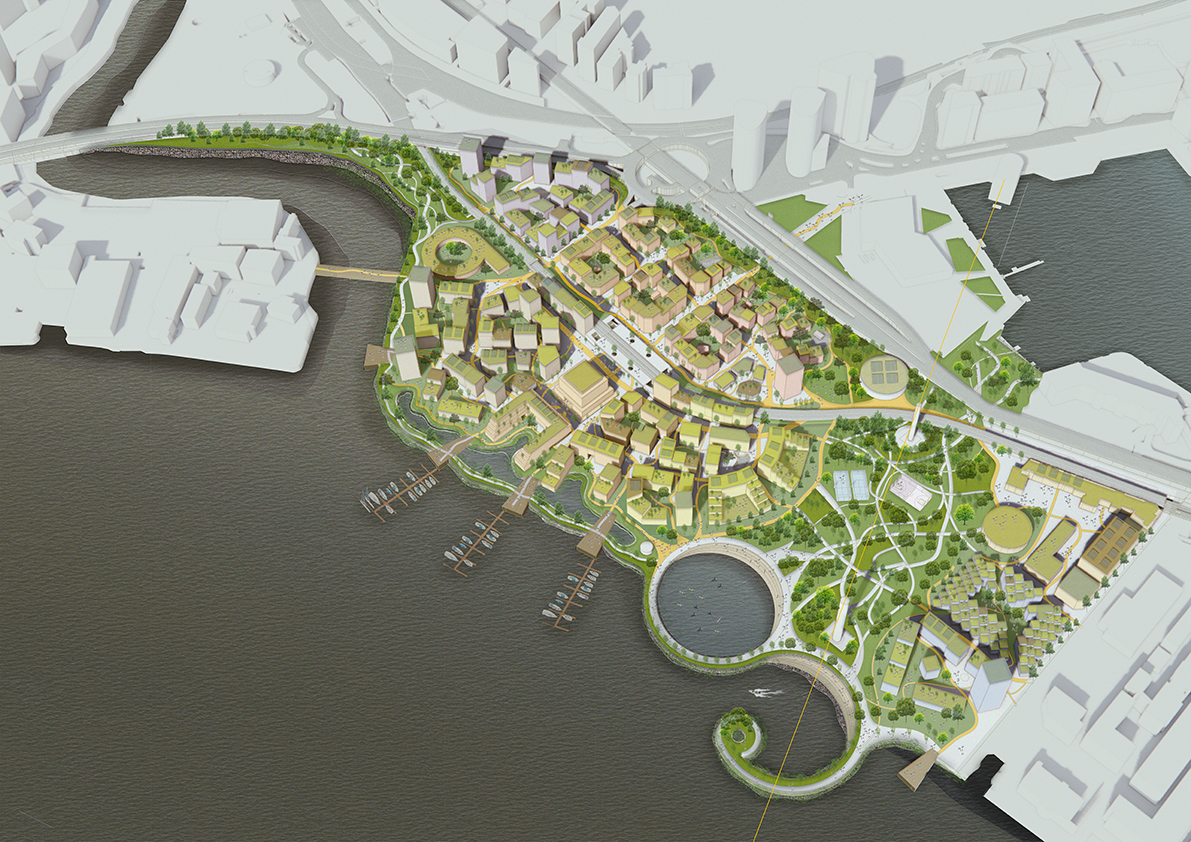 Regenerative Masterplan. Regenerating a 16 hectare former industrial site on the edge of the River Thames into a mixed use neighbourhood informed by integral sustainable design principles.