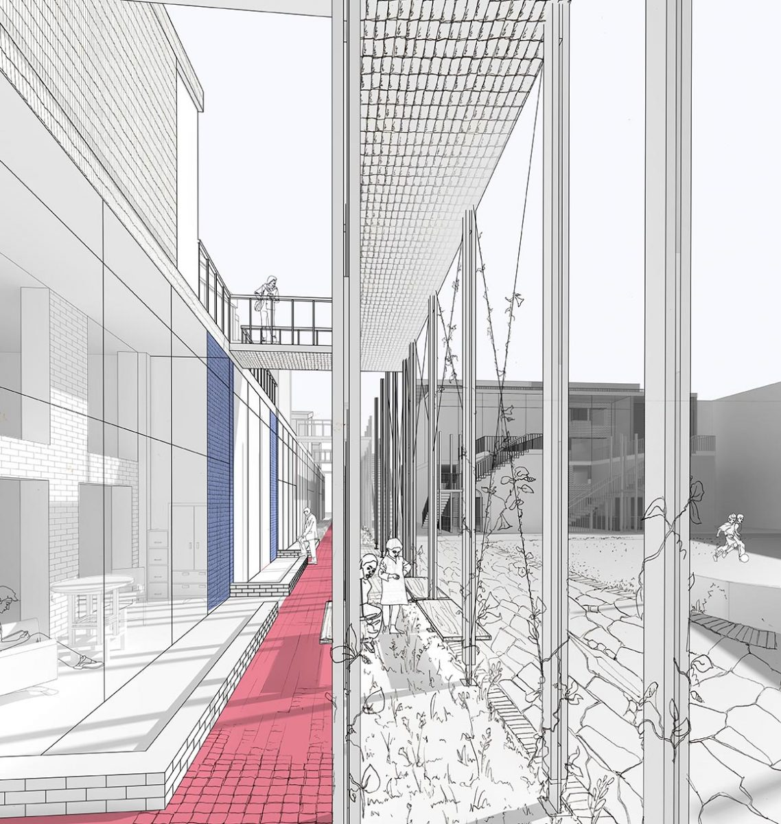 Raised walkways, green collonade and changes in materials create a series of thresholds betweeen public and private space