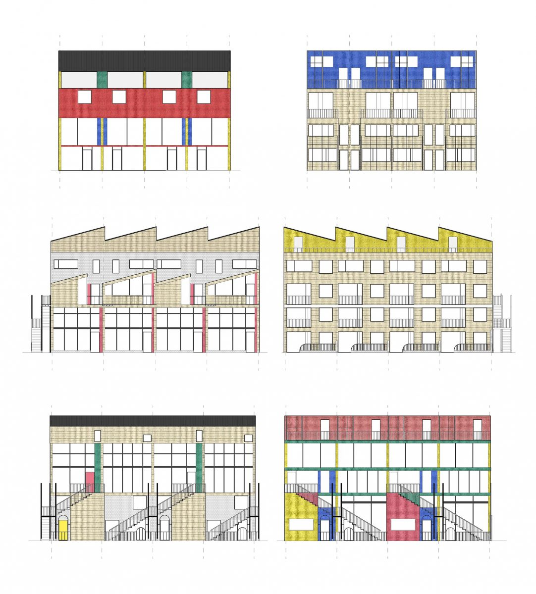 Elevations designed to respond either to the street with brightly coloured tiles or internal gardens and squares with softer timber singles. Brightly coloured tiles then highlight entrances at ground and first floors.