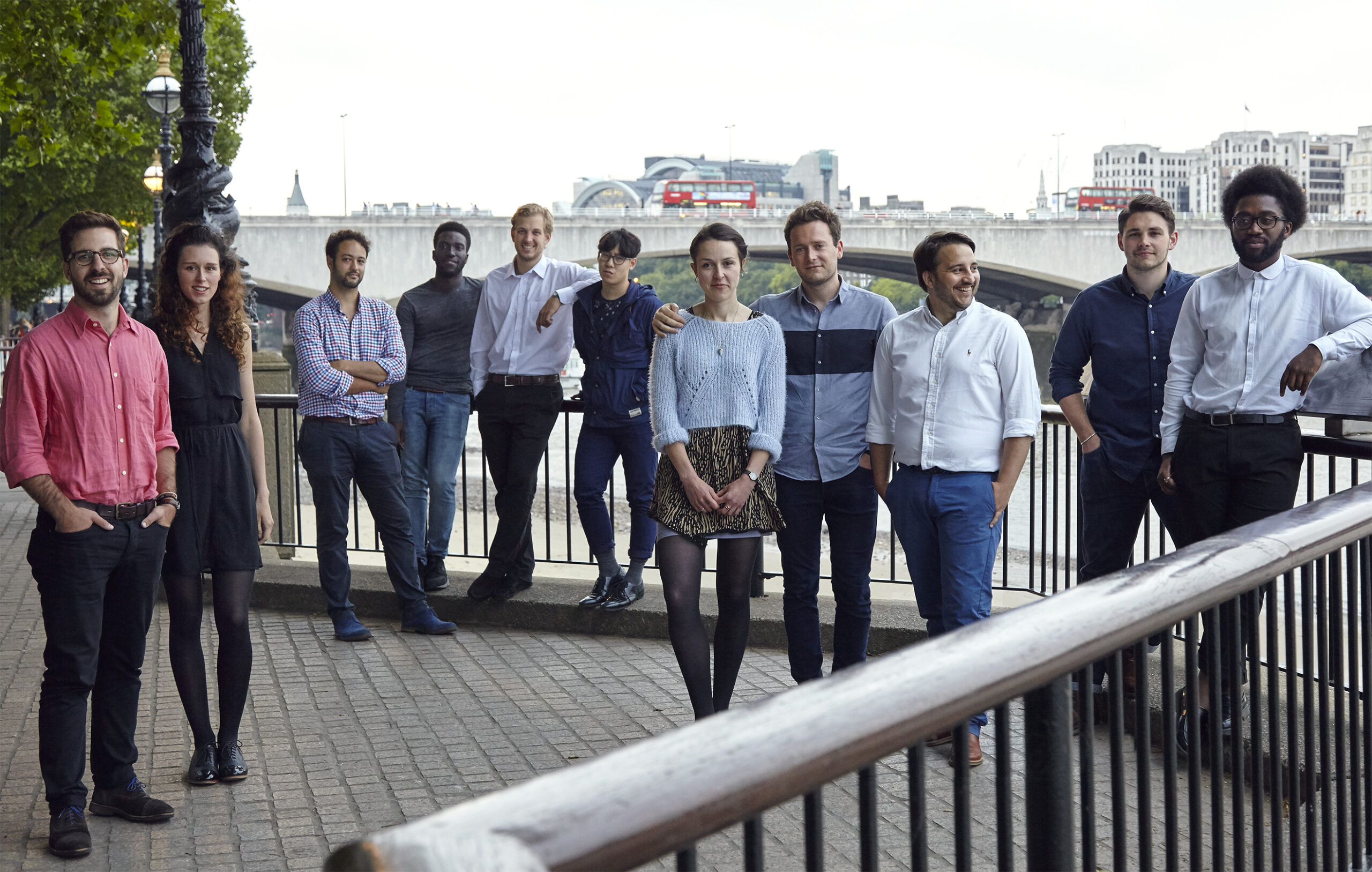 Fig. 24. Students photographed by River Thames, spring 2015, from left: Aleks Stojakovic, a lovely student who came to the photoshoot then sadly went to London Met, Frazer Haviz, Nathaniel Amissah, Alexander Frehse, Timothy Ng, Maeve Dolan, James MacKenzie, Stuart Goldsworthy-Trapp, Jack Idle and Raphael Arthur.