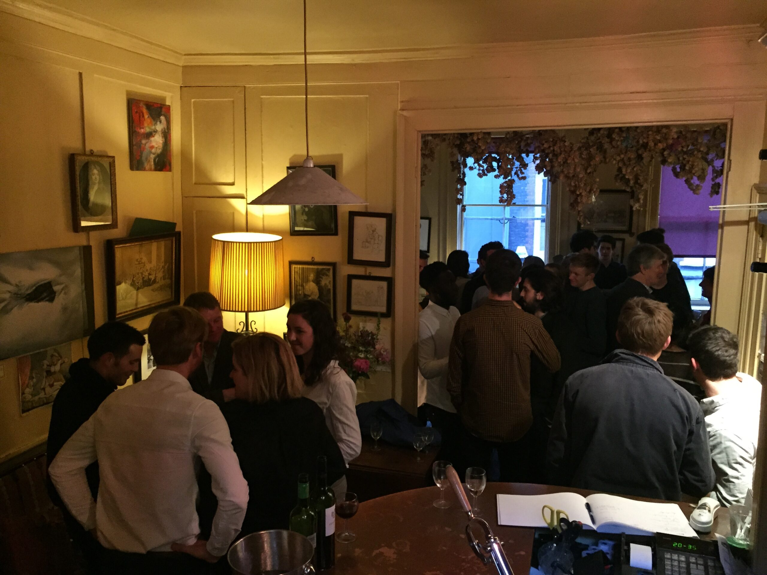 Fig. 25b. First student social event at the Academy Club in Soho, 22 May 2015, with Deborah Saunt and Tom Holbrook in the foreground.