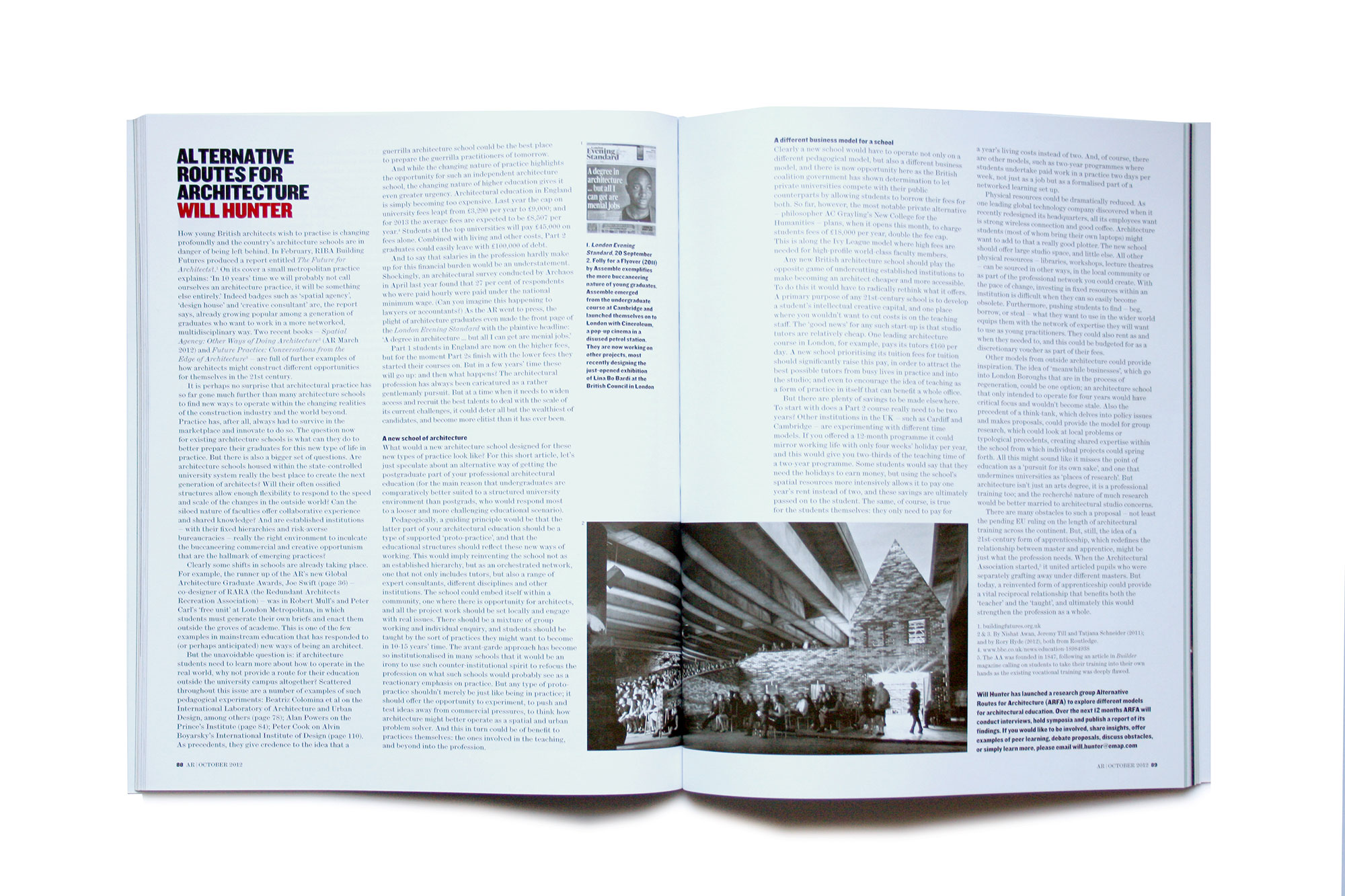 Fig. 3. Published in The Architectural Review in October 2012, Alternative Routes for Architecture launched the ARFA think tank.