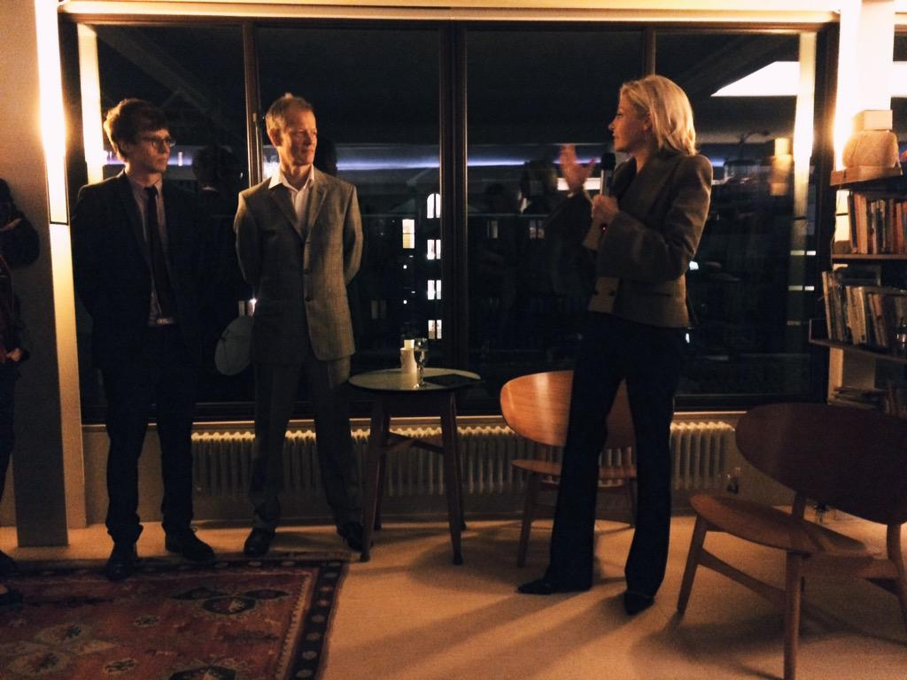 Fig. 36. Nadja Swarovski making a speech, alongside Will Hunter and Crispin Kelly at the latter's flat for the Founders Party, 8 October 2015.