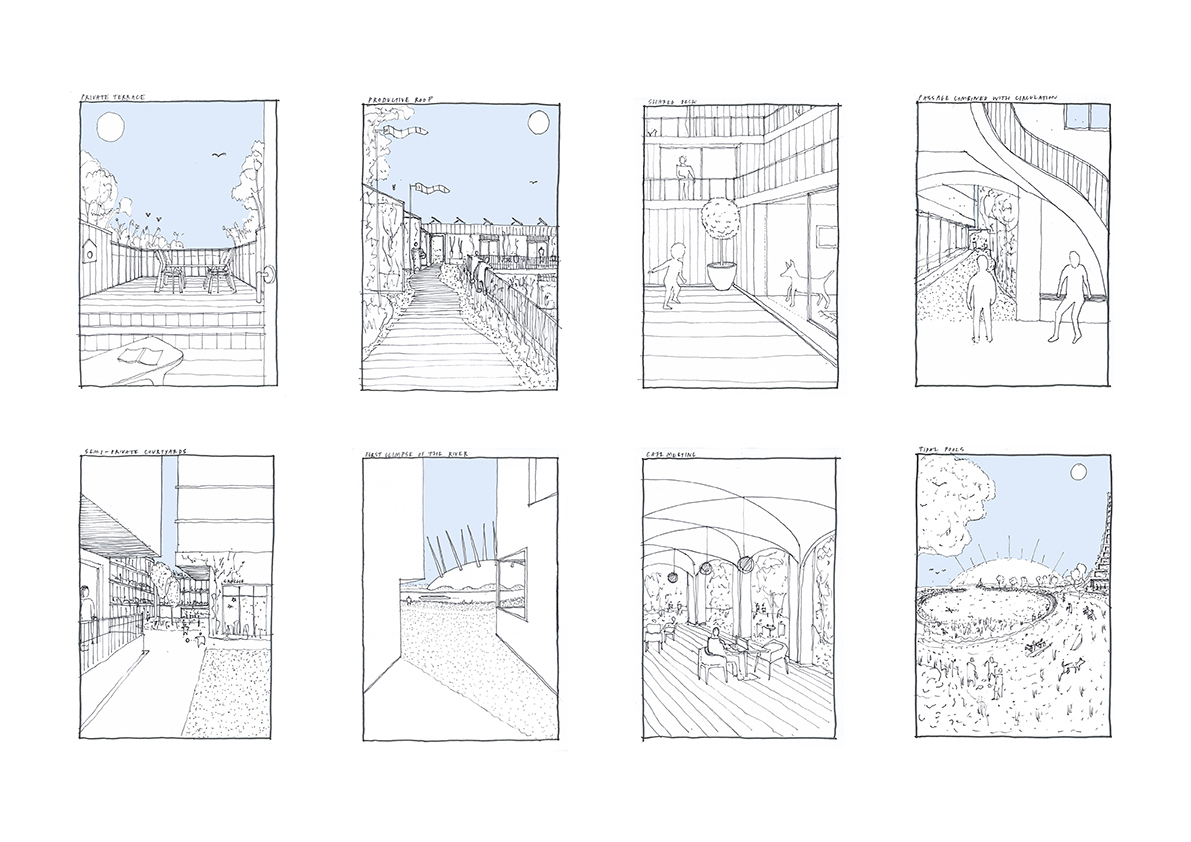 Moments. Key spatial experiences around the site.