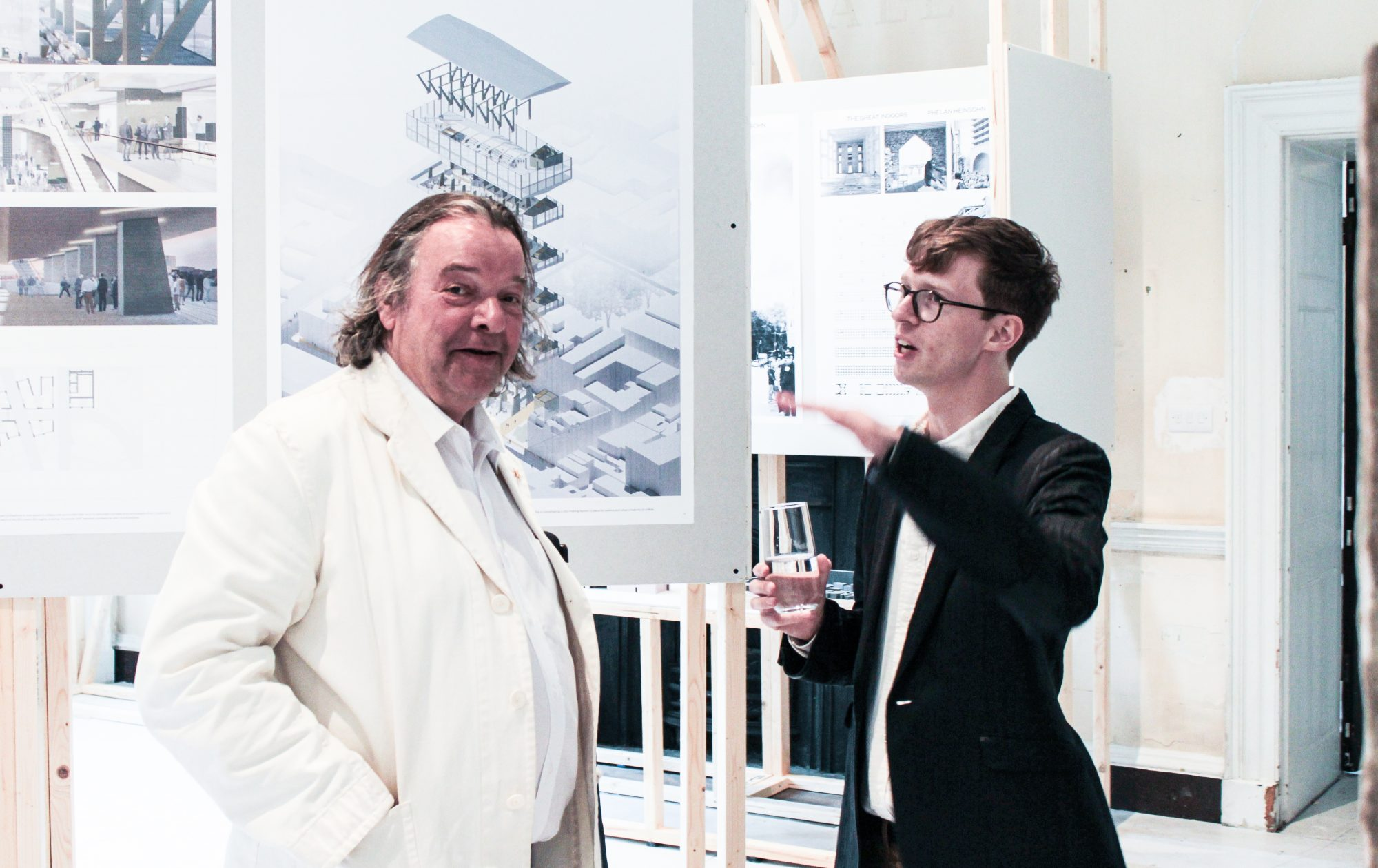 Fig. 4. With Will Alsop, photographed at the LSA's first summer show, London.