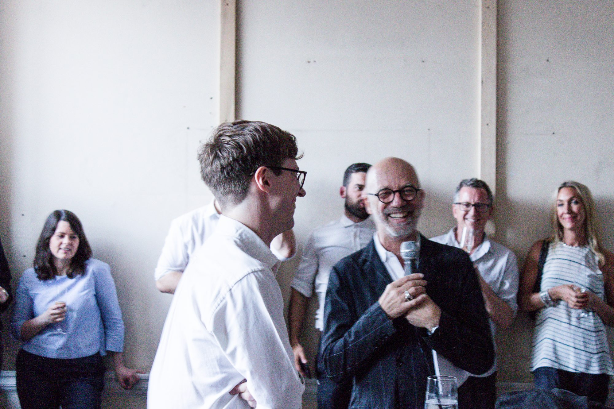 Fig. 5. With Nigel Coates, also photographed at the LSA's first summer show; Lewis Kinneir, Clive Sall and Kate Stirling in the background.