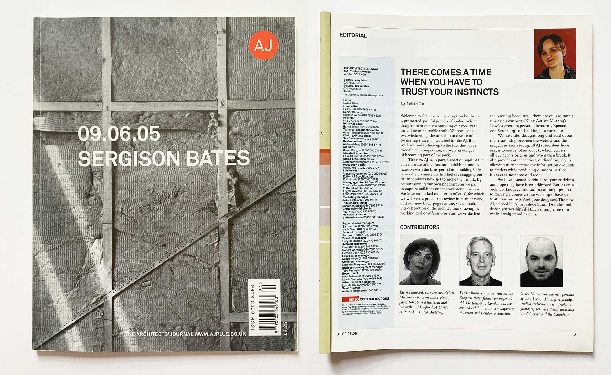 Fig. 6a. The relaunch issue of The Architects' Journal, edited by Isabel Allen, redesigned by Sarah Douglas and Apfel.