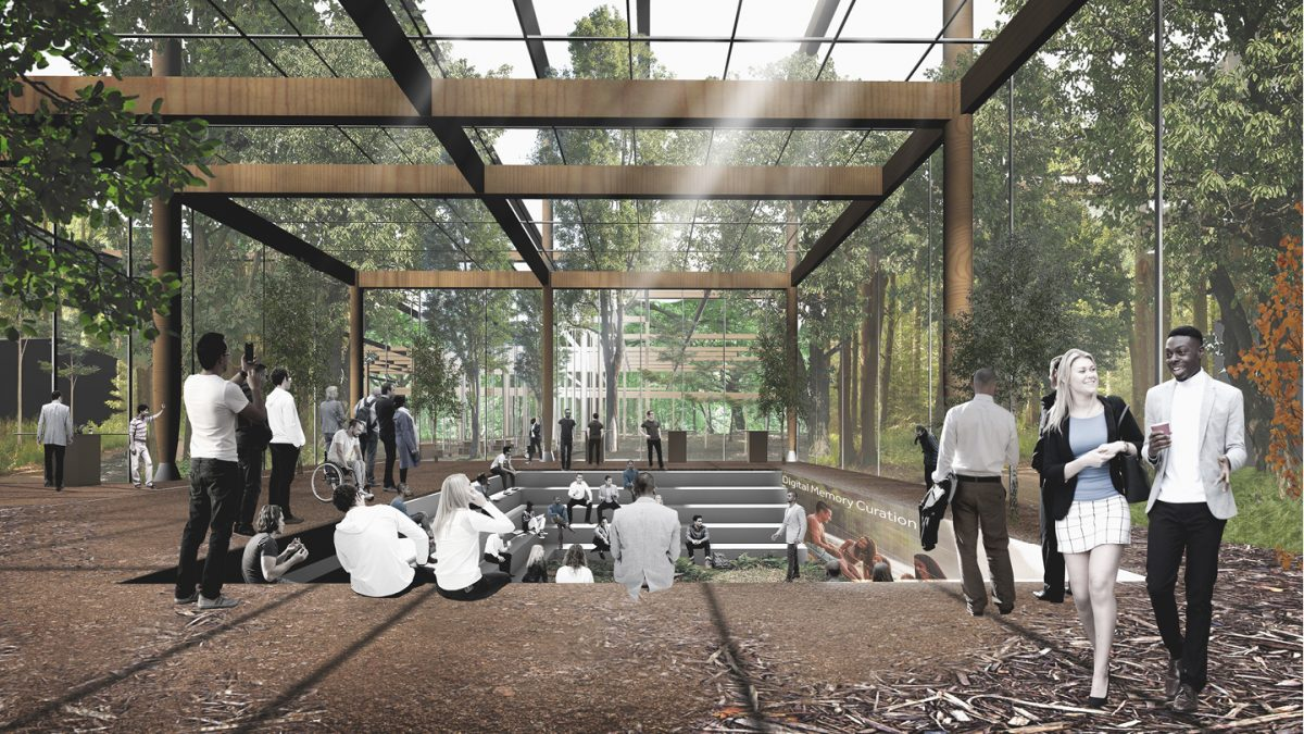 Like the intensely-used presentation spaces of Silicon Valley where talks and ideas are shared, this is a space for knowledge transaction from the intimate setting of the forest floor.
