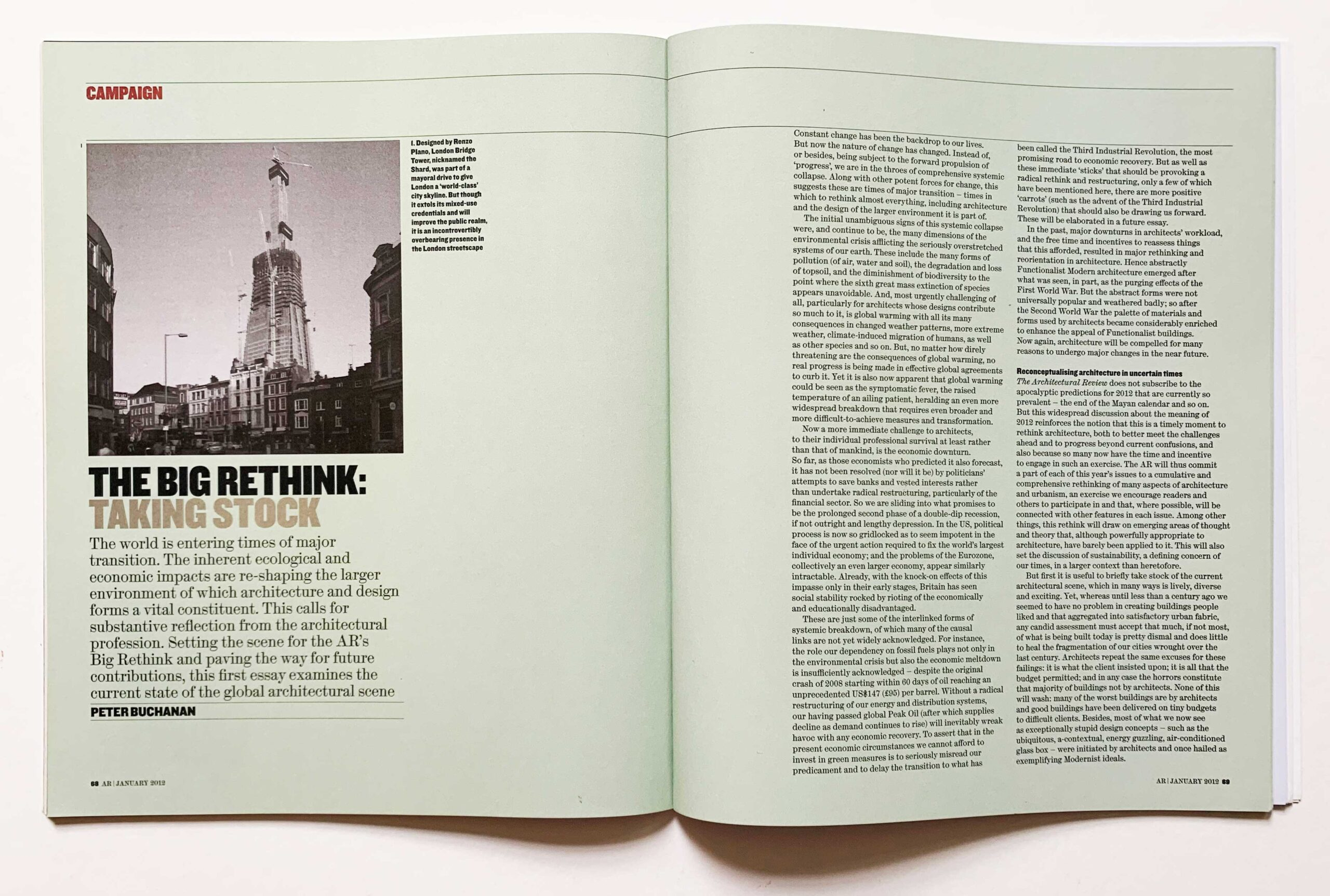 Fig. 8. Peter Buchanan's year-long campaign The Big Rethink in The Architectural Review was highly influential on the aspirations for the new school.