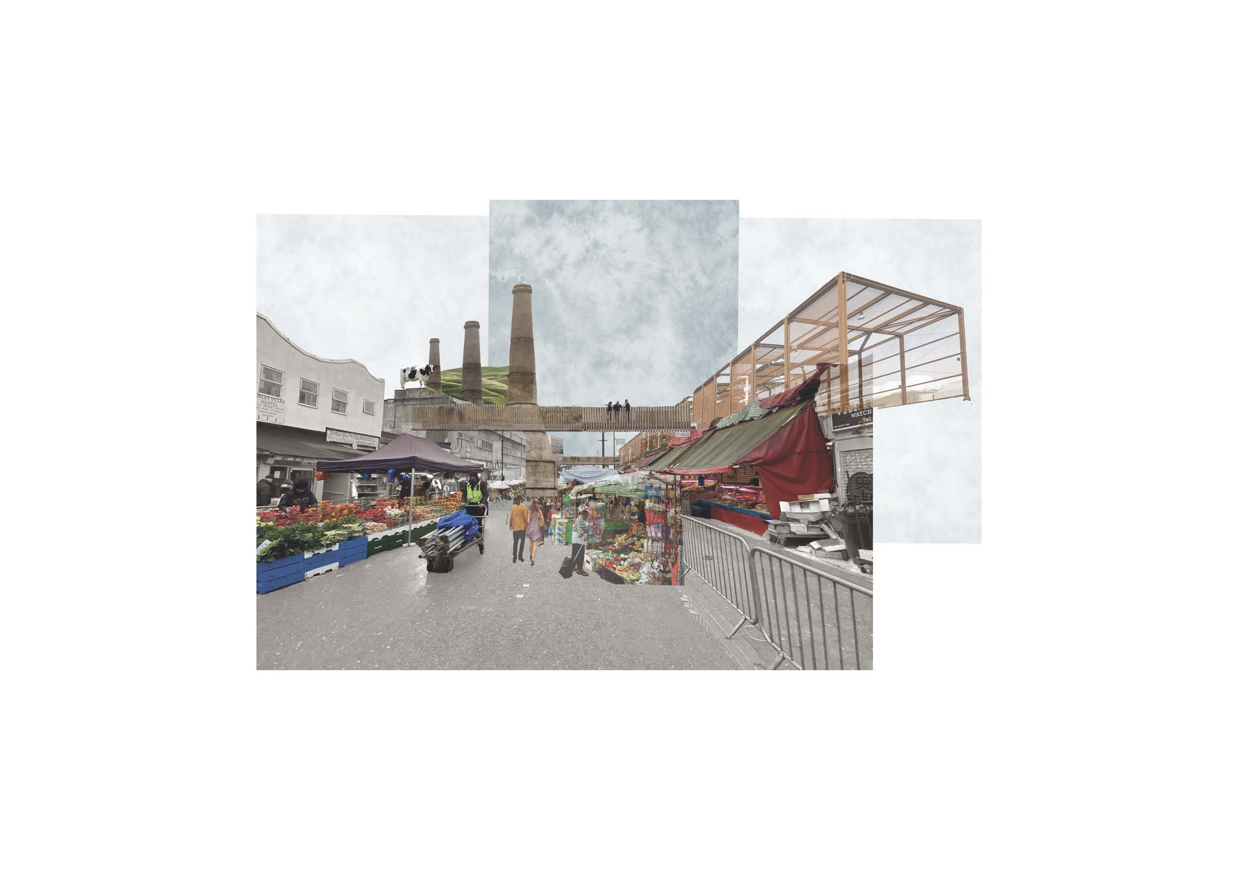 Conceptual Collage: Embedding the phased meat innovation center into Ridley Road Market