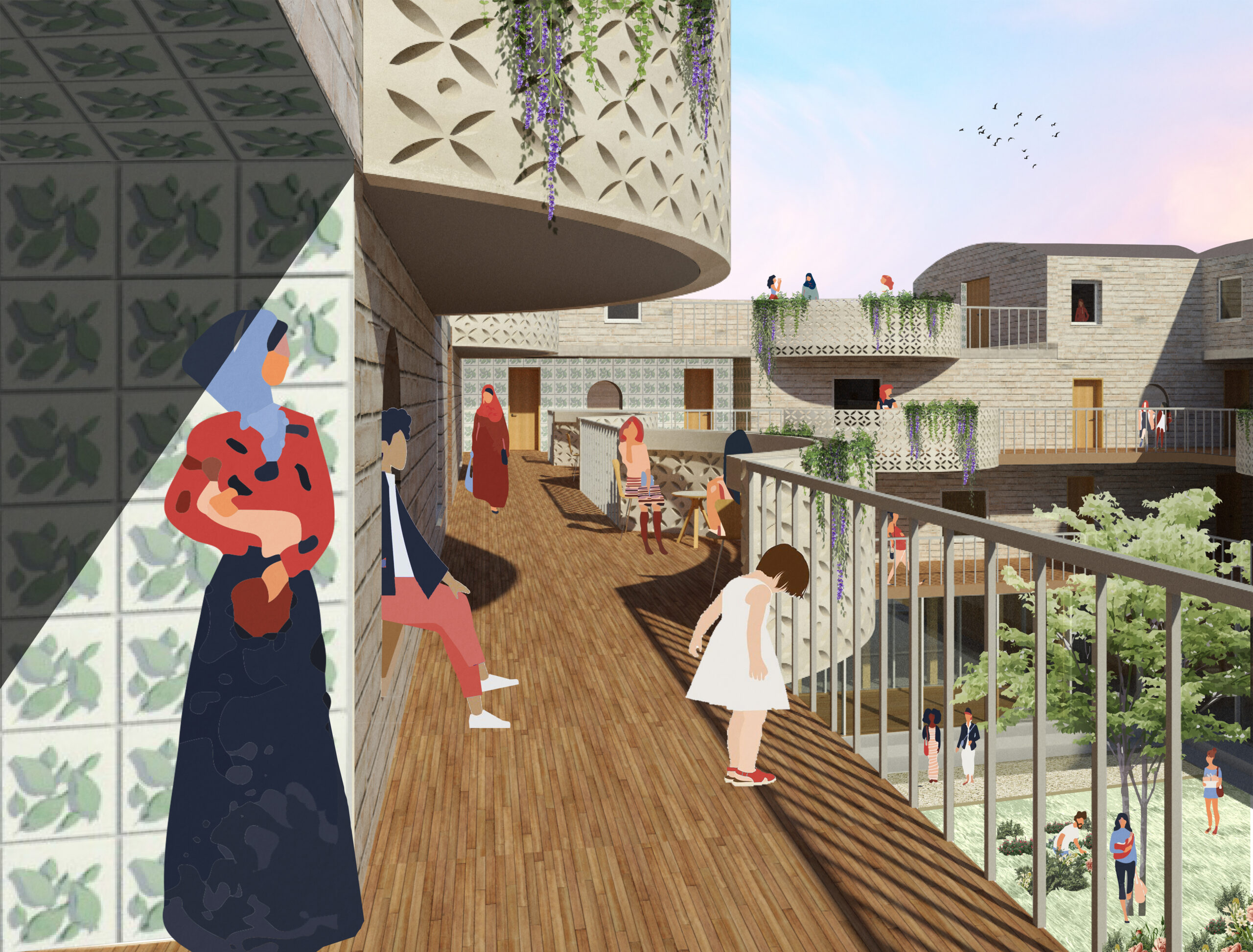Threshold and balcony views overlooking the external courtyard. Curved balconies and integrated wall seats provide levels of interaction for women and children. These also allow for vulnerable women who feel anxious to enjoy communal activities from a distance.