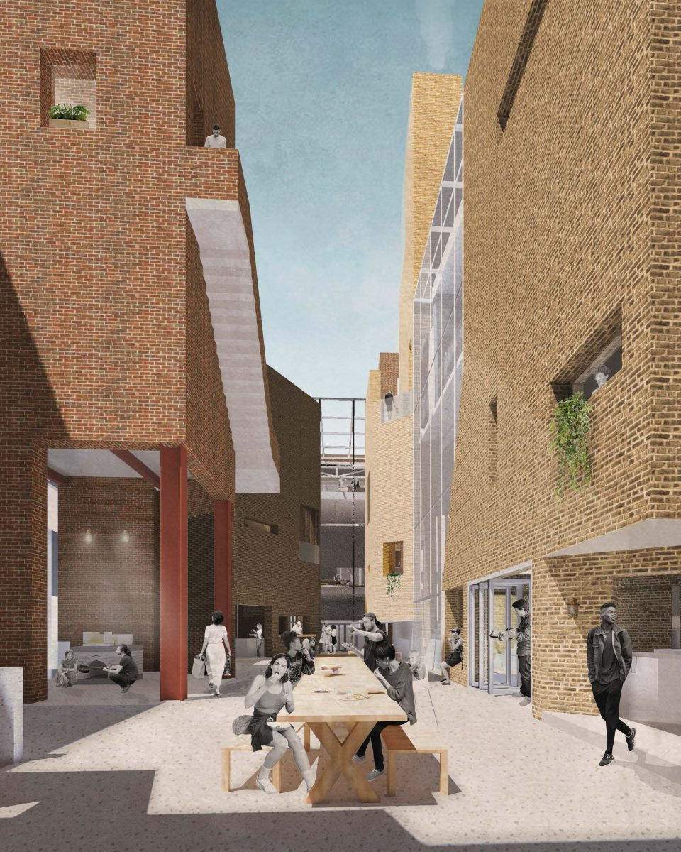 The towers give way to a central outdoor courtyard; a communal area into which activity spills from the surrounding cooking spaces, allowing groups to converge and culture to be shared.