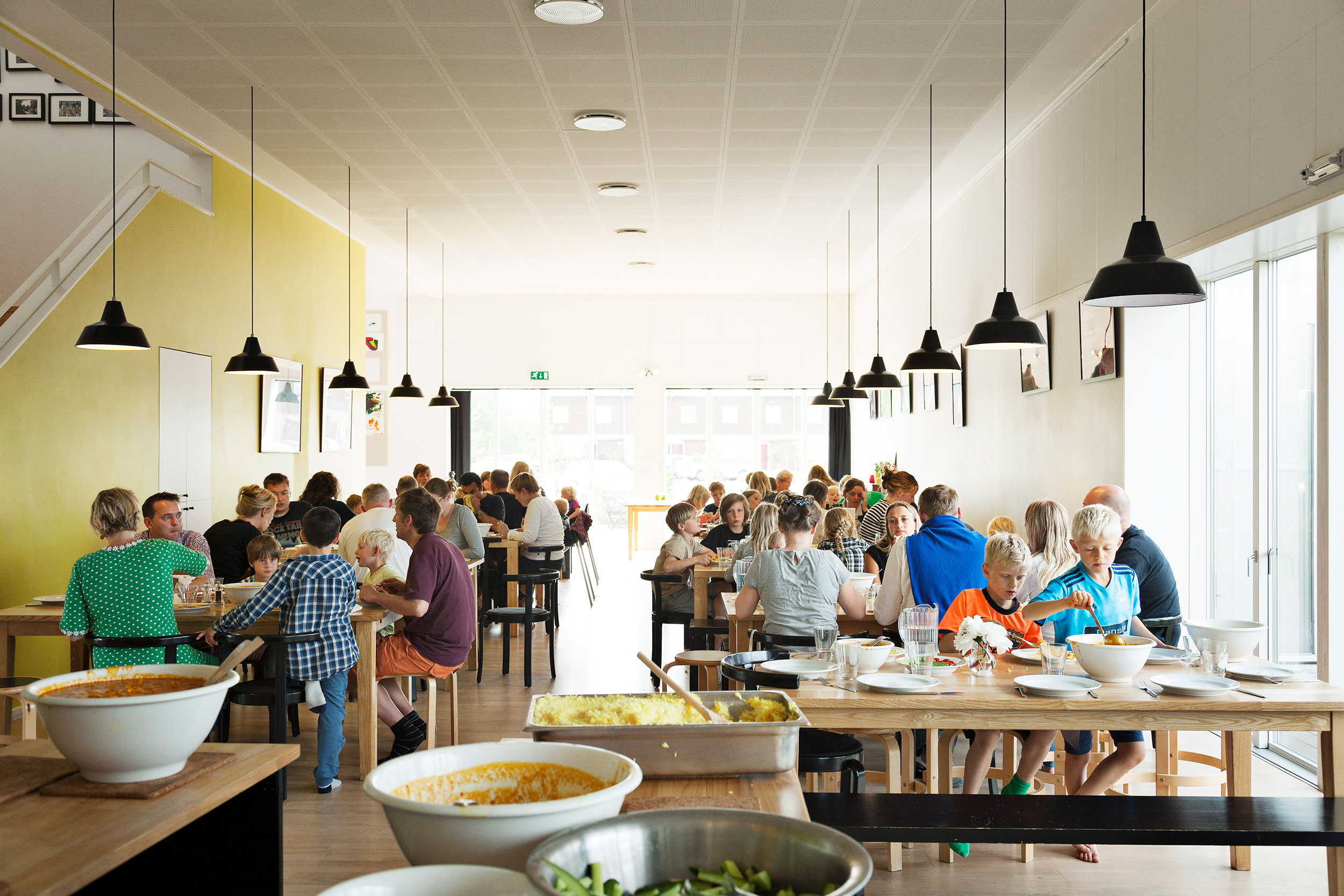 Lang Eng, Copenhagen. Designed by the architect Dorte Mandrup, this co-housing community includes a shared garden, a 20-seat cinema for collective film and TV watching and an industrial-sized kitchen where residents take turns to prepare shared meals.