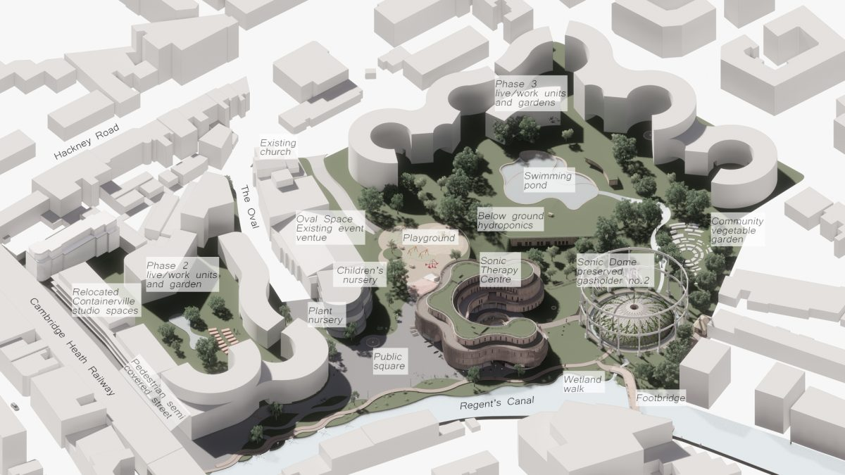 The Sound Gardens, Project Overview - The Sound Gardens is a proposal in three phases to turn a decommissioned gasholder park and low-rise industrial area into a lively neighbourhood inspired by sound.