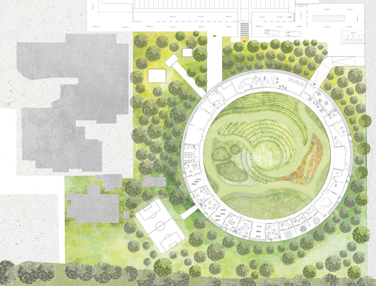 The design principles follow from a need to create an incredibly protected environment that also feels extremely open. The circular form creates an enclosure without the need for walls.