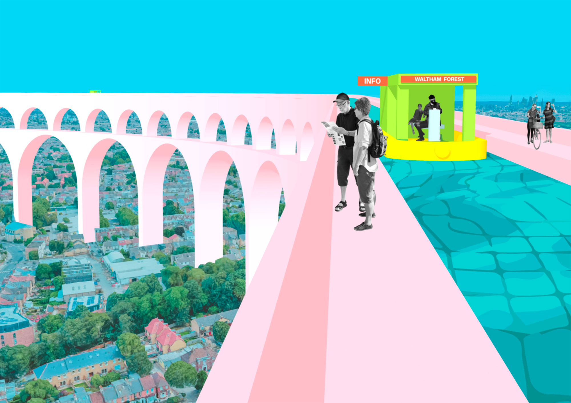 An aqueduct is one of a series of imagined interventions that create a new journey through the borough.