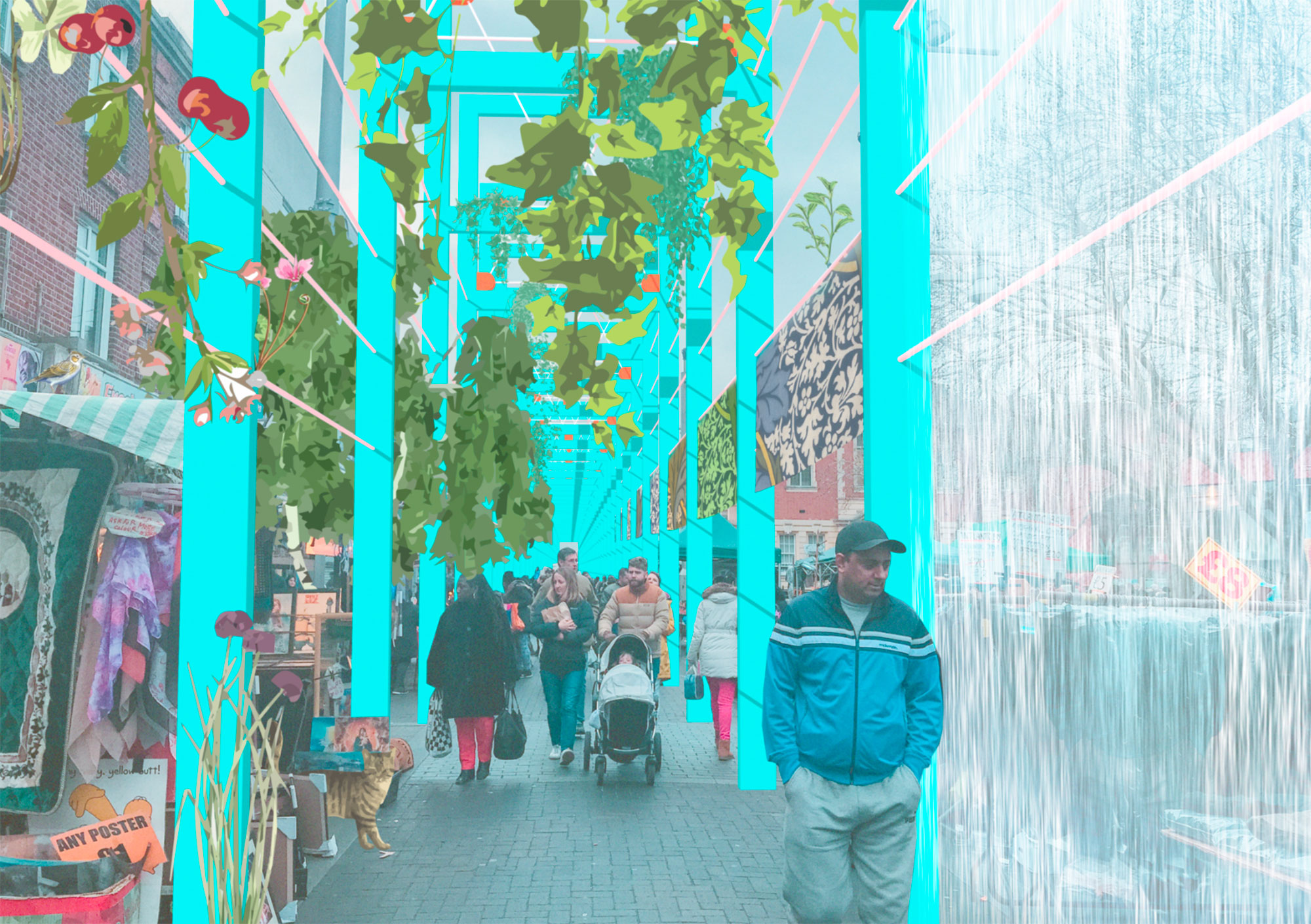 A pergola is one of a series of imagined interventions that create a new journey through the borough.